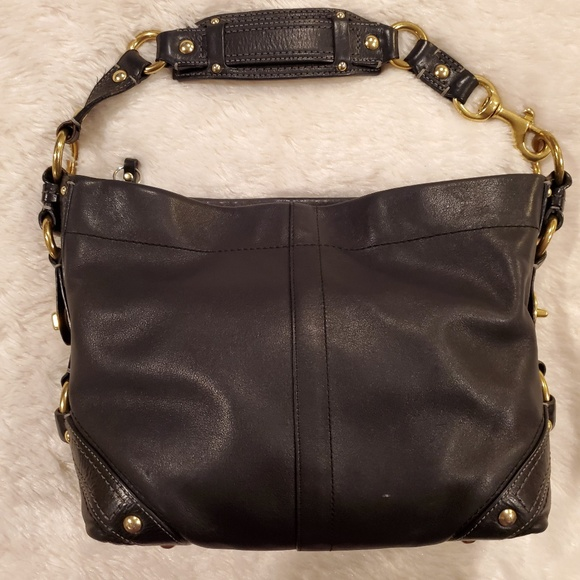 Coach Handbags - Vintage Coach Black Leather Hobo Shoulder Bag
